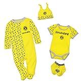 Borussia Dortmund Baby-Geschenkbox (Body, Strampler, Mütze, Socken) Gr. 62/68 - Plus Gratis Lesezeichen I Love Dortmund