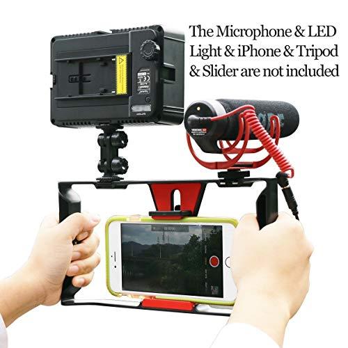 Smartphone Video Rig, Ulanzi iPhone Kameratechnik Aufnahme vlogging Rig Handy, Handy Filme Halterung Stabilisator für videomaker Filmen videofilmer für iPhone 7 Plus Sumsang
