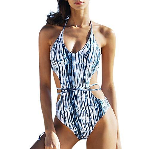 b41779f549c63 QingJiu Women's one-Piece Swimsuit Sexy Strap Bikini Swimsuit Halter Bra  Beach Bathing Suit Hollowed
