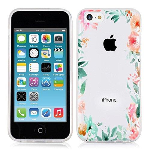 Coque Iphone 5C Fleur 15 Pastel Tropical Rose Transparente