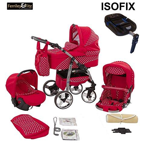 Ferriley & Fitz Daytona Kinderwagen Safety-Set (Autositz & ISOFIX Basis, Regenschutz, Moskitonetz, Getränkehalter, Schwenkräder) 62 Rot & Weiße Punkte
