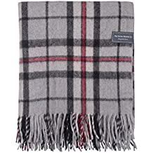 The Tartan Blanket Co. Couverture recyclée en laine – style tartan écossais Thomson Grey