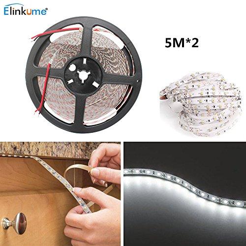 ELINKUME Flexible LED Streifen Lichter - 10M 1200 LEDs (SMD 2835) Band Licht Nicht Wasserdicht kalteweiß LED Band Dekorative Streifenbeleuchtung für Schlafzimmer Wohnzimmer Küche Bar Coffee Shop -