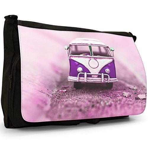 Old Camper Van–Borsa Tracolla Tela Nera Grande Scuola/Borsa Per Laptop Old Purple Camper Van