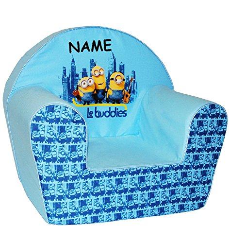 """Kindersofa / Kindersessel - """" Minions - Ich einfach unverbesserlich """" - incl. Name - kleines Sofa - für 1 bis 3 Jahre - Sessel / Kinderstuhl - BLAU - Kindermöbel für Mädchen & Jungen - Schaumstoff - Couch / Einzelsofa - Stoff - Stuhl Stühle / Kinderzimmer - Minion / Mark Dave Stuart Bob Kevin - Despicable Me - Kinder / Sofa"""