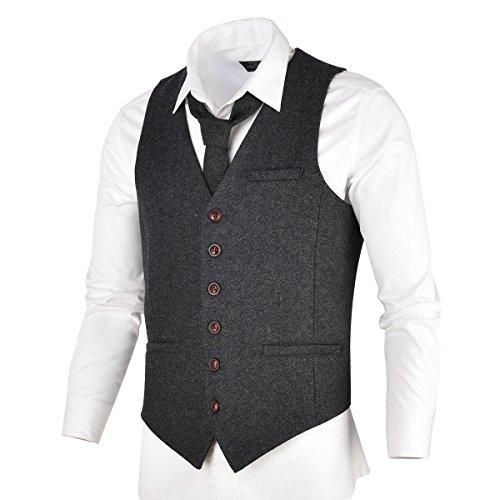 VOBOOM Herren Slim Fit Tweed Anzug Premium Weste aus Wollmischung mit Fischgrätmuster MEHRWEG, M, Dunkelgrau