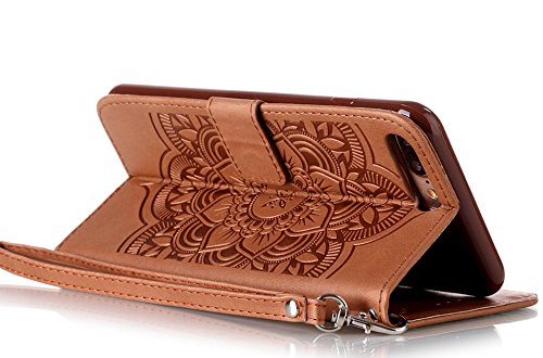 """[Coque Iphone 7 silicone] Nnopbeclik Mode Fine Folio Wallet/Portefeuille en Bonne Qualité PU Cuir Housse pour Apple Iphone 7 Coque silicone (4.7 Pouce) """"Wind Chime Style"""" de Gaufrage Motif + Stand Sup marron"""