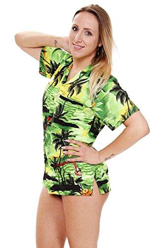 Original King Kameha | Funky Hawaiibluse Hawaiihemd | Damen | XS - 6XL | Kurzarm | Front-Tasche | Hawaii-Print | Strand Palmen Surf | verschiedene Farben Grün