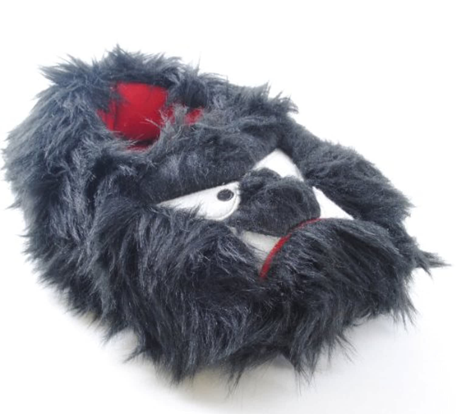 Kids Black, Red and White Fun Fluffy Monster Face Slippers Size 9-10