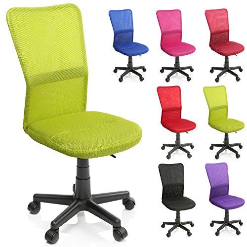 TRESKO Bürostuhl Schreibtischstuhl Drehstuhl, erhätlich in 7 Farbvarianten, mit Kunststoff-Leichtlaufrollen, stufenlos höhenverstellbar, gepolsterte Sitzfläche, Lift SGS-geprüft (Hellgrün) - Ohne Weiß Stuhl Schreibtisch Armlehnen
