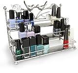 Kosmetik Organizer 3 Ablagen - Silbern 26 x 21 x 13 cm - Kosmetikregal Nagellack Aufbewahrung Präsentation - Grinscard