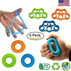 Powerband HandTrainer Fingertrainer Klettern Ball Hand Trainingsgerät Handgelenk Trainer Fingertrainer Klettern Griffkraft Trainer Hand Training Fingerhantel Finger Training (6 Pack)