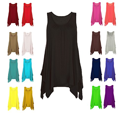 Papaval Womens Hanky Top Summer Gathered Ladies Plus Size 8-26 Vest Hem Flared