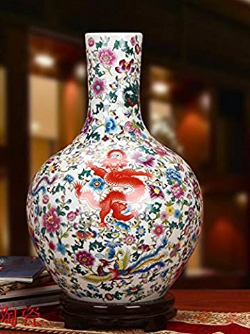 Gjmdhp Kowloon Tianqiuping Landing Grand Pastel antique chinois Vase Décoration Craft Ornements