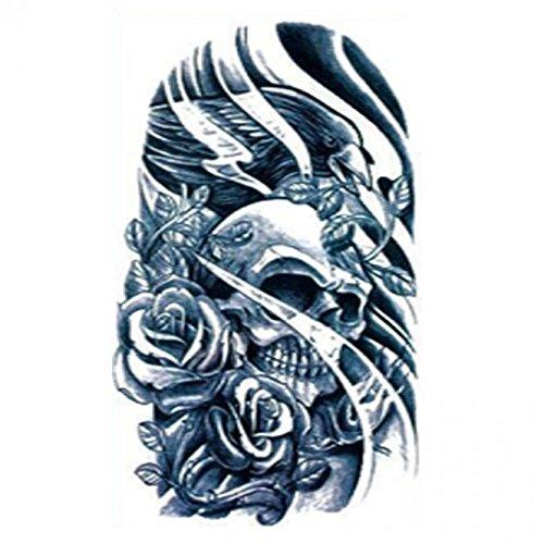 Grashine Halloween Tattoo für Erwachsene Schwarz-Weiß-Schädel und Rosen realistisch und gefälschte temporäre Tattoos