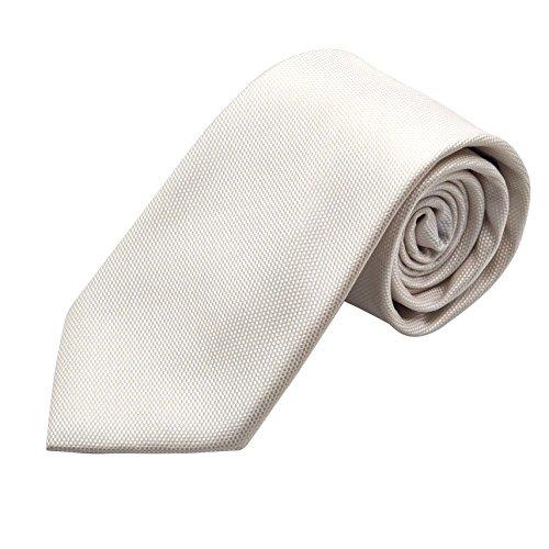 7camicie - Cravate italienne 100% soie. Blanc uni. Effet quadrill