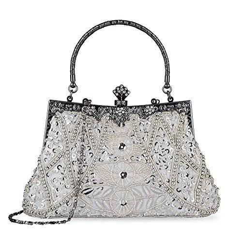 Kisschic Borsa da sera borsa della pochette clutch donna del sacchetto di sera delle donne(argento)