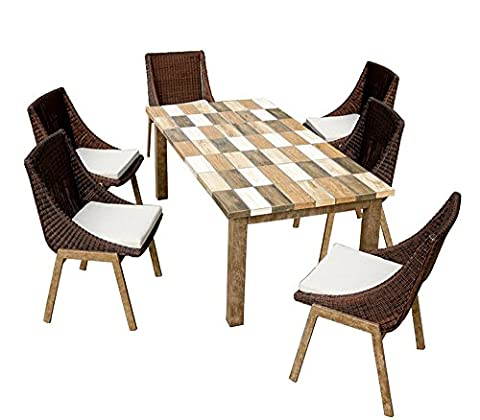 Salon de jardin 6 chaises + 1 table, ensemble de jardin avec 6 chaises en rotin, 1 table rectangulaire 200*100 cm en fer forgé et plateau en céramique, coussins