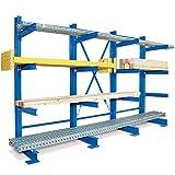 Kragarm-Komplettregal, 4 Ebenen, einseitige Ausführung, BxTxH 3100 x 740 x 2000 mm, Nutztiefe 600 mm, Achsmaß 1000 mm