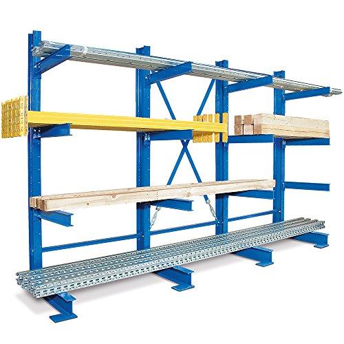 Kragarm-Komplettregal, 4 Ebenen, einseitige Ausführung, BxTxH 3100 x 740 x 2000 mm, Nutztiefe 600 mm, Achsmaß 1000 mm -