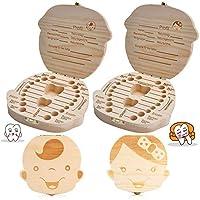 texto bebé dientes caja, BESTZY 2Pcs save cajas de madera personalizada caja de recuerdos de hoja caduca, personalizar personalizada bebé dientes caja (Niño)