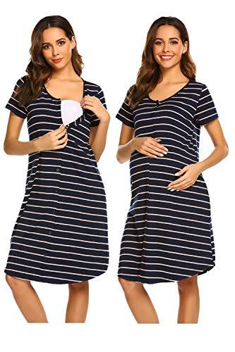 Unibelle camicia da notte maternità vestito comodo pigiama elegante blu navy
