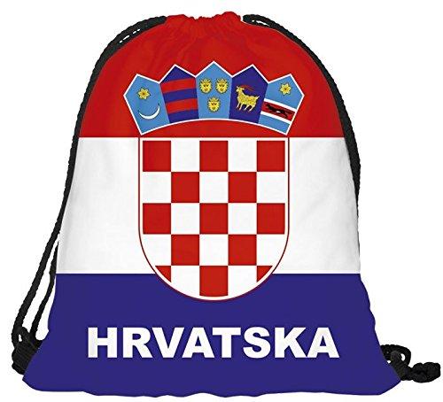 Turnbeutel EM Länderrucksack Fanrucksack WM Fanartikel Sportbeutel Gymsack Jutetasche von Alsino RU-KRO Kroatien