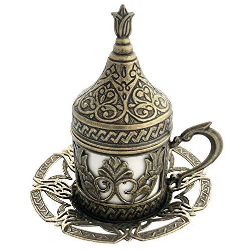 Türkische Kaffeetasse mit Untertasse, Deckel