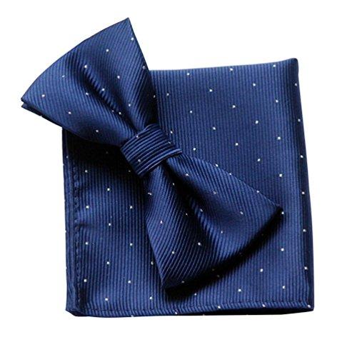 NiSeng Pajaritas Con Pañuelo Lunares Corbata & Pañuelo Elegante Pajarita Paisley Matrimonio Fiesta Boda Lazo para Hombres Azul