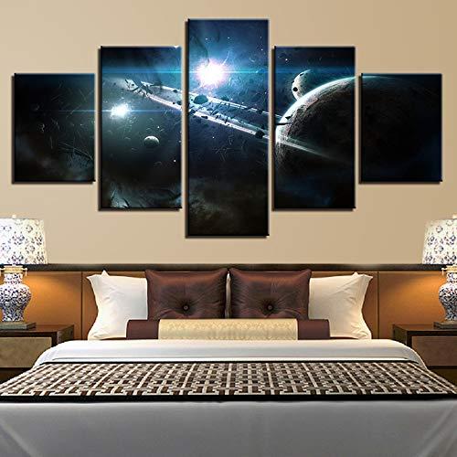 adgkitb canvas Leinwand Einfache Sternenhimmel Malerei Fünf Stücke Home Decoracion Nordica Infantil Sofa Hintergrund Dekor Bild (Universum Turnschuhe)