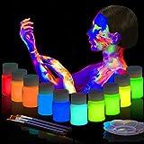 BEAU-PRO UV-Licht Bodypainting 10 x 20ml, Schwarzlicht Schminke für Bodypainting und Gesicht, Fluoreszierende Neon Leuchtfarbe Schminke im Set für knalligen Leuchteffekt, Party, Karneval, Festival