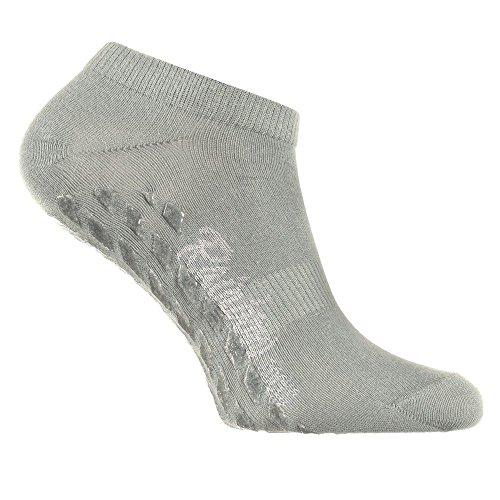 Rainbow Socks 1 Paar Kurze ANTIRUTSCH-Socken by Baumwollereiche STOPPERSOCKEN, Komfort für Jeden Tag, ideal für: Glatte Fußböden Yoga Trampolinspringen GRAU 36/38 Oeko-Tex-Zertifikat, Made in EU