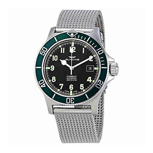 Glycine Combat sub automatico nero quadrante acciaio mens orologio GL0091