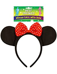 Fancy Dress Black Mouse Ears With A Red And White Polka Dot Bow Headband