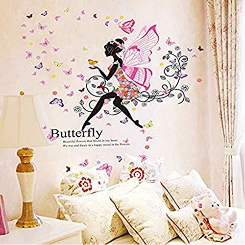 JUNMAONO Blumenfee&Elf Wandaufkleber/Wandgemälde/Wand Poster/Wandbild Aufkleber/Wandbilder/Wandtattoo/Pinupbild/Beschriftung/Pad einfügen/Tapete/Tapezieren/Tapeten/Wand Zeitung/Wandmalerei/Haftnotiz/Fühlen Sie sich frei zu kleben/Instant Aufkleber/3D-Stereo-Wandaufkleber (chibang)