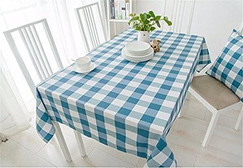 Hxc Home Blanc Bleu Checker Nappe en coton et lin American Country–Table de salle à manger rectangulaire Desk Table carrée Chiffon respectueux de l'environnement couvrant,