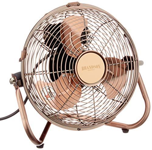 Brandson - Windmaschine - Ventilator im Kupfer Design - Standventilator 22 Watt - Tischventilator Standventilator - hoher Luftdurchsatz - stufenlos neigbarer Ventilatorkopf