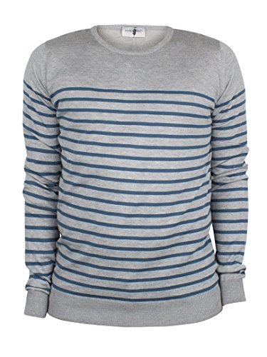 John Smedley Homme Redfree Striped Knit, Gris Gris