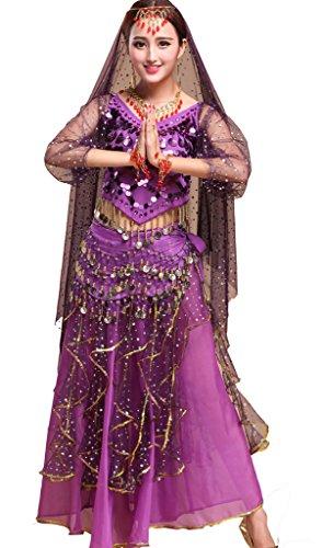 Damen lange Hülsen Indischer Tanz Paillette Bauchtanz Kostüm Set Violett