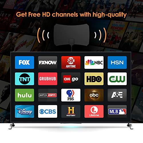 [Nueva versión 2019] Antena TV Interior-  Bqeel Antena TV portátil HDTV Digital con Amplificador de señal Inteligente para Canales de TV 1080P 4K gratuitos para DTMB,  ATSC, DVB- T,  DMB- T, ISDB - T