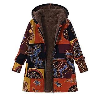 Anglewolf Plus Size Women Hooded Long Sleeve Cotton Linen Fluffy Fur Zipper Coat Outwear Fashion Parka Winter Warm Thicken Hoodie Overcoat Jacket Womens Ladies Wool Trench Sweatshirt(Yellow,5XL)