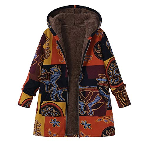 OverDose Damen Winterjacke Windbreaker Wärmemantel Plus Size Damen Kapuzen Causal Slim Soft Langarm Vintage Damen Fleece Dick Coats Zipper Coat(Gelb,EU-46/CN-XL)