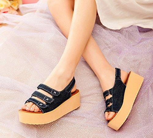 La Vogue Sandale Compensé Plateforme Spartiate Chaussure Casual Marche Bout Ouvert Plage Eté Foncé