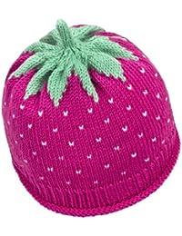 Newborn Erdbeermütze aus warmer Schurwolle in pink, Kopfumfang 34-36cm