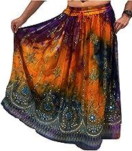 Malva lentejuelas decorativas Danza del Vientre Tribal Maxi Sol de Verano Vestido Falda