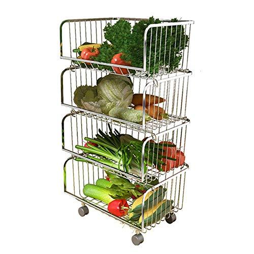 ASDAD Stapelbarer Aufbewahrungskorb Trolley Stehkorb Organizer Rollwagen Rack Für Gemüse Obst Gewürze Küche Speisekammer - 2/3/4/5 Tier,4tier (Schubladen Organizer 4 Cart)