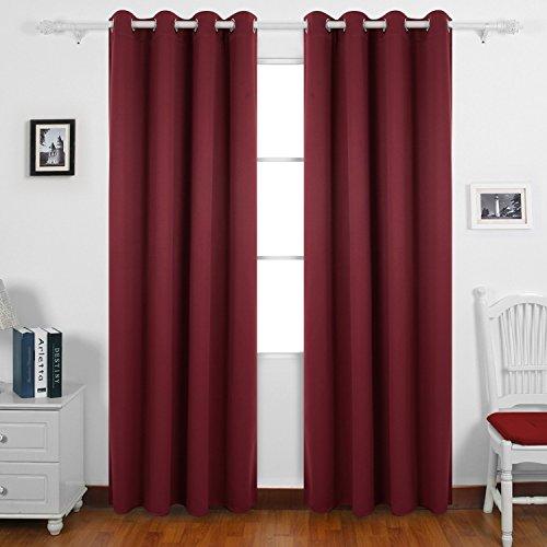 Deconovo tende oscuranti termiche isolanti con occhielli per casa moderne 140x245cm rosso due pannelli