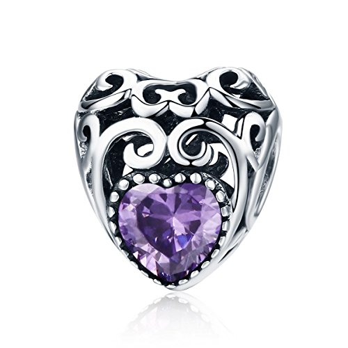 c005718ff February Birthstone Charms- Leaves Wave Heart Bead Charms- 925 Sterling  Silver Openwork Charm fit Pandora Charm Bracelet Necklace for Women,  Daughter, Wife, ...