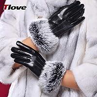 Gloves Guantes de Invierno Mujer Gruesa Caliente Corta Guantes de Cuero, Hembra Invierno Linda Pantalla Táctil Guantes Femeninos,Negro,M