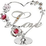 Crystocraft Love Heart with Red & Pink Swarovski Crystal Flowers SP524